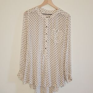 Free People boho tunic cream floral print medium